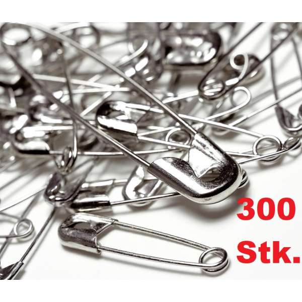 300x Sicherheitsnadeln Set 20-25-30-35mm silberfarben Schmucknadel Tuchnadel Nadeln