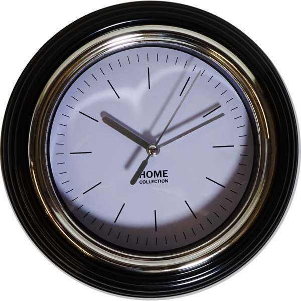 Wanduhr Home 19,5cm Bahnhofsuhr Büro Uhr Retro Küchenuhr analog schwarzer Rahmen