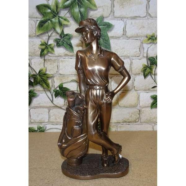 Golf Sport Figur Golfer Jugendstil Deko Skulptur Statue massiv bronzefarben 22cm