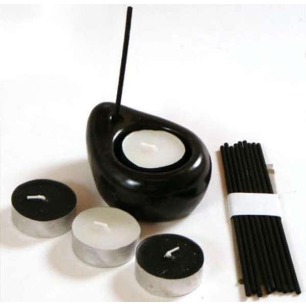 Geschenk-Set Teelichthalter Ying Yang +Teelichter +Räucherstäbchen grüner Tee