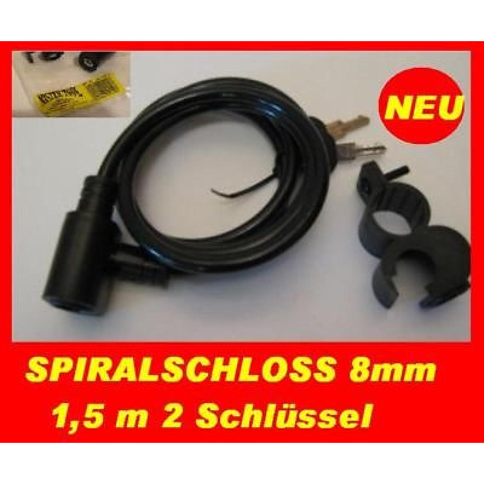 Mister Tool Fahrrad Schloss mit Halterung Fahrradschloss Motorrad Mofa 150cm 8mm