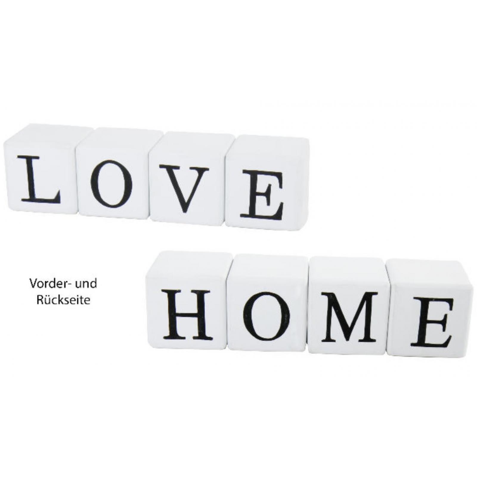 Schriftzug HOME LOVE weiß Deko Würfel aus Holz Buchstaben Aufsteller ...