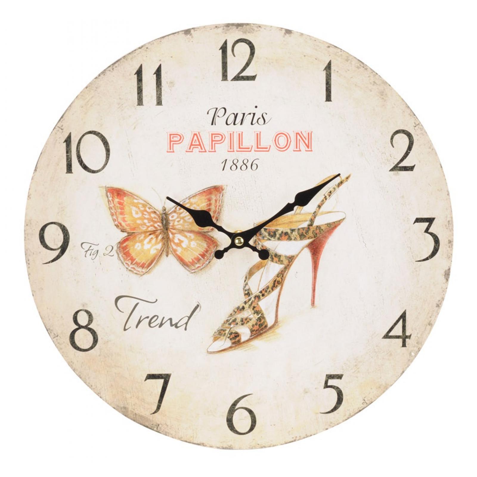Nostalgische Wanduhr Paris Papillon 33cm Shabby Chic Antik Stil