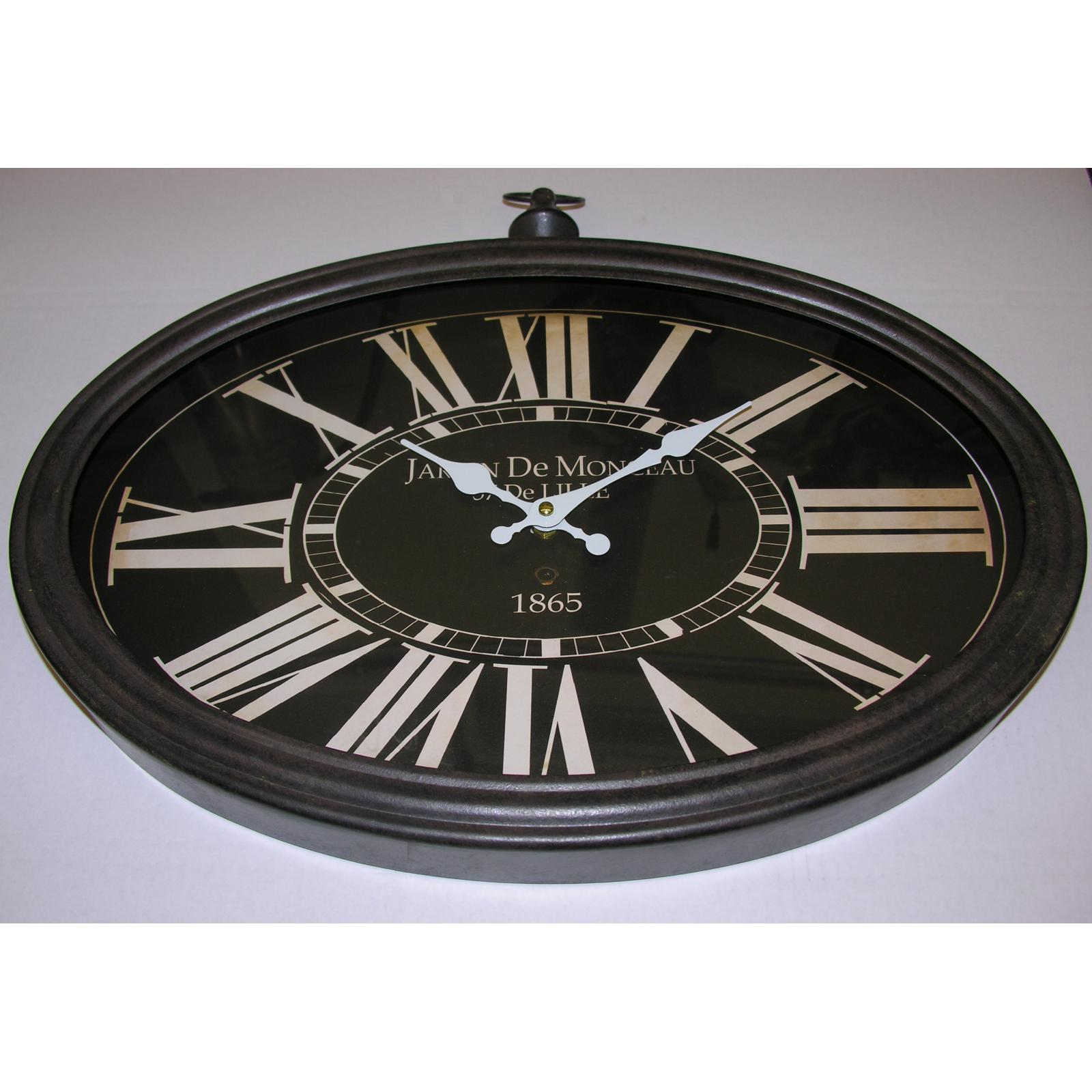 style nostalgie r tro xxl horloge murale m tal verre ovale 50cm shabby chic ebay. Black Bedroom Furniture Sets. Home Design Ideas