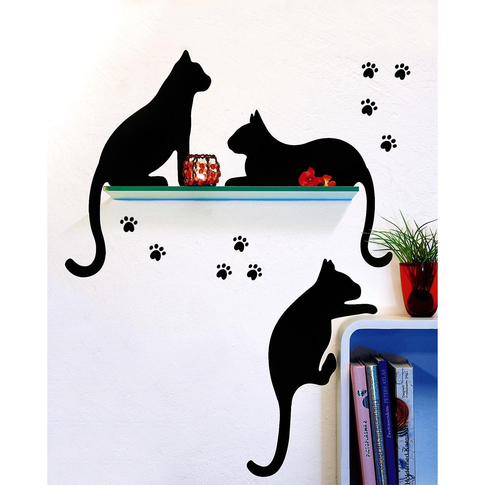 Bezaubernd Wandtattoo Katzen Ideen Von 3 Schwarze Wand Sticker Kühlschrank Deko Aufkleber