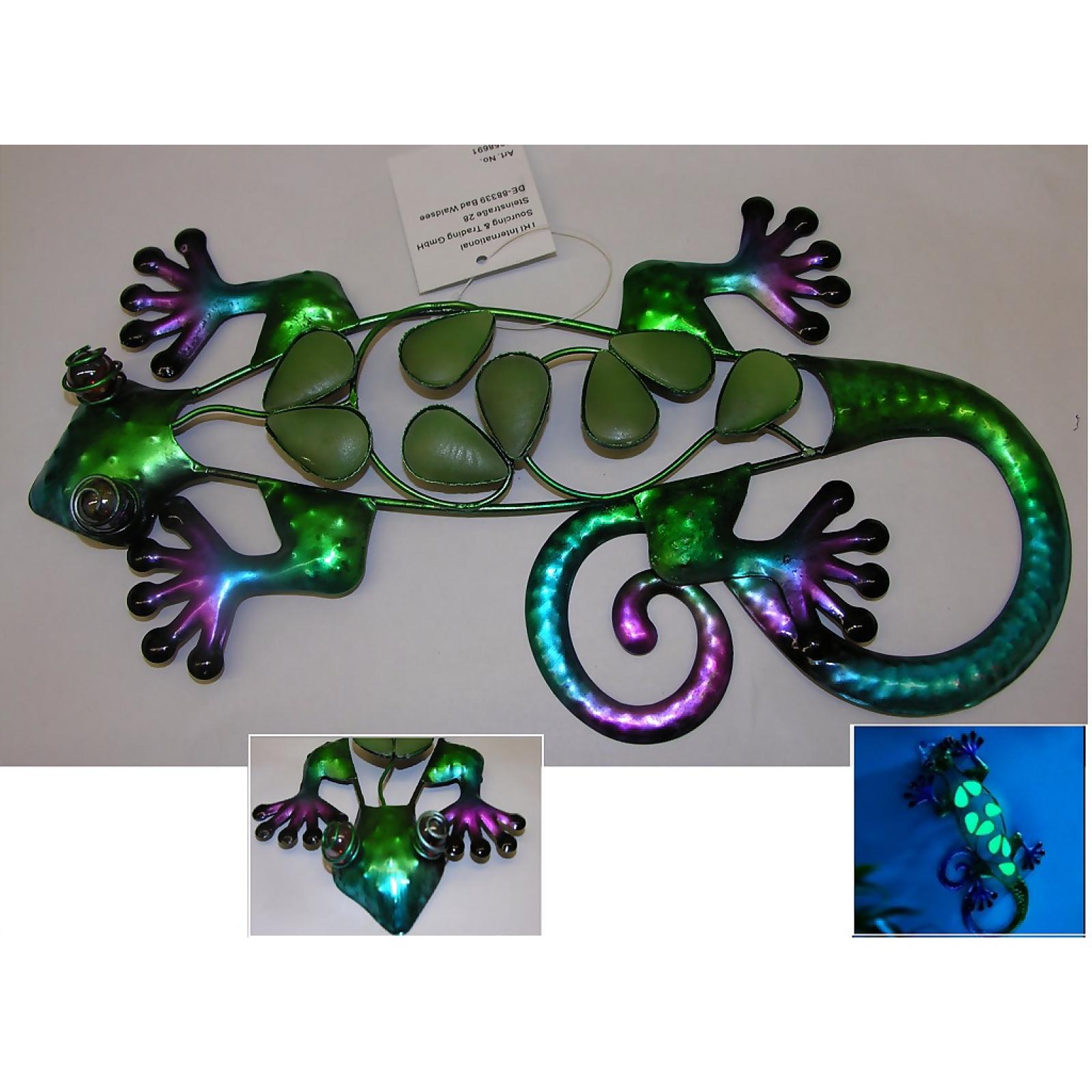 Wanddeko gecko eidechse 30 cm bunt metall glow in the dark garten terrasse ebay - Gecko wanddeko ...