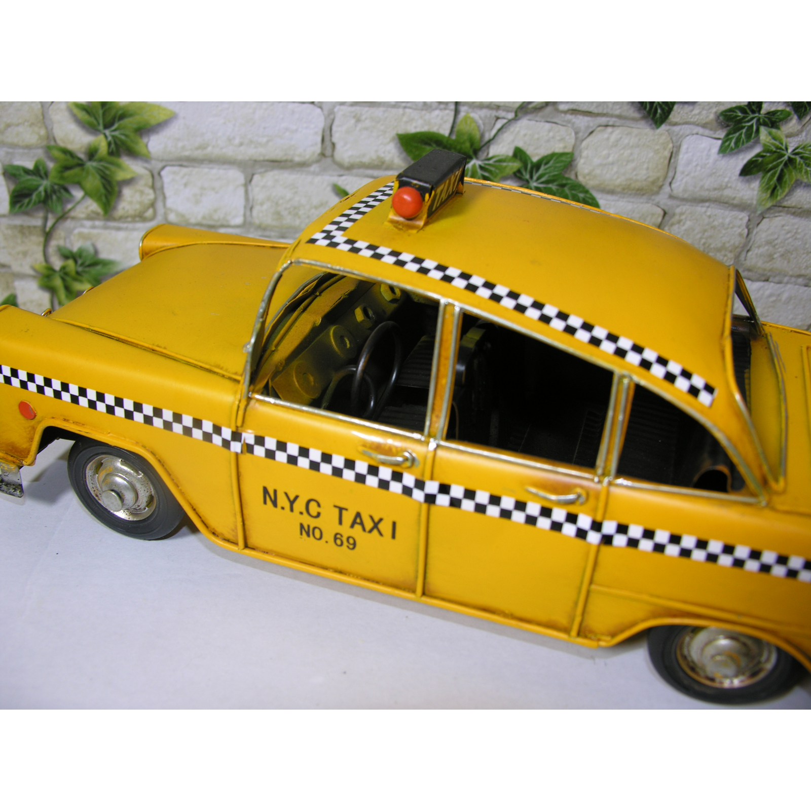 gelbes New York Taxi NYC Cadilac DeVille Blechmodell Metall Modell Oldtimer Auto