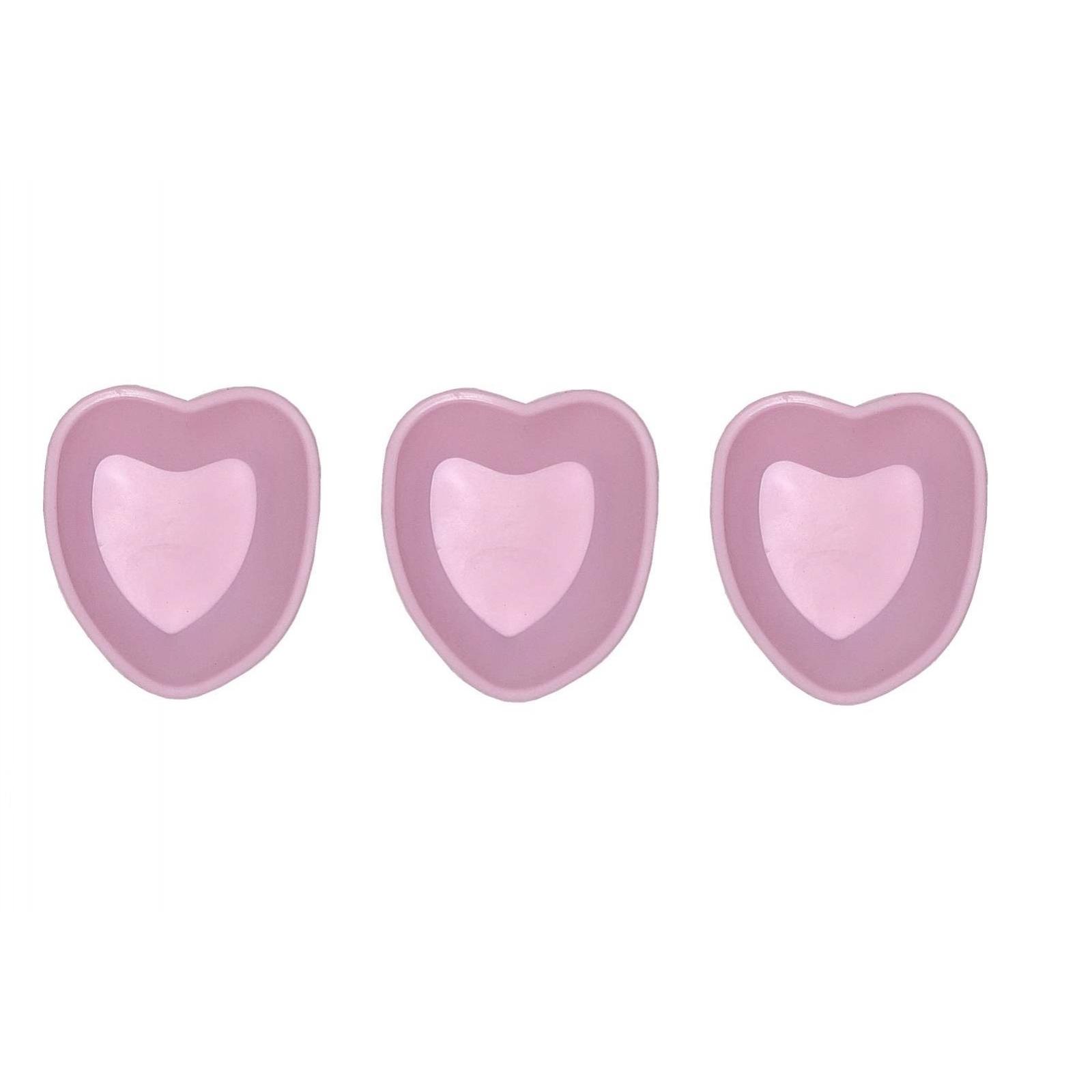 3er Set Mini Silikon Backform Herz Pink Kuchenform Cupcake Form