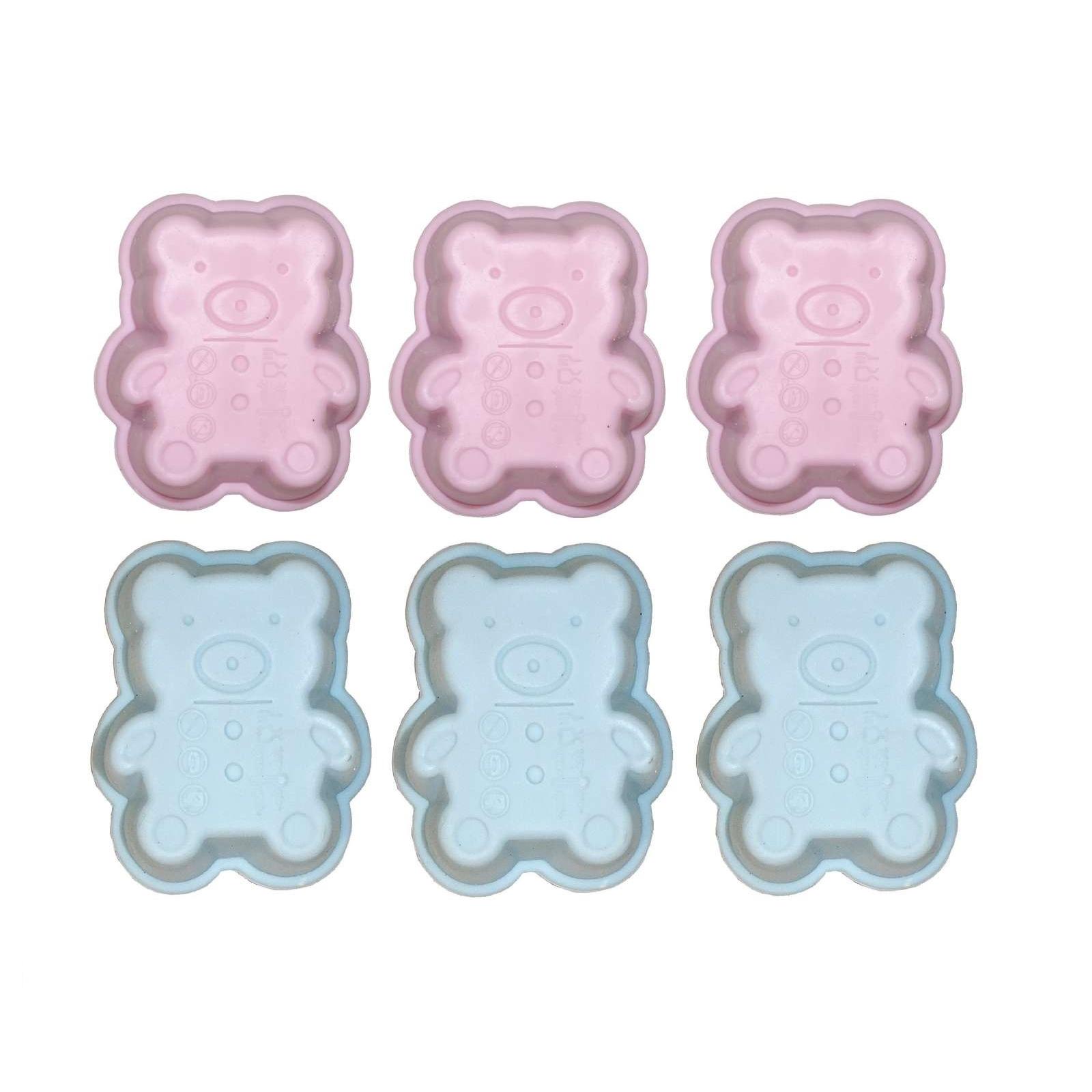 6er set mini silikon backform b rchen pink blau kuchenform. Black Bedroom Furniture Sets. Home Design Ideas