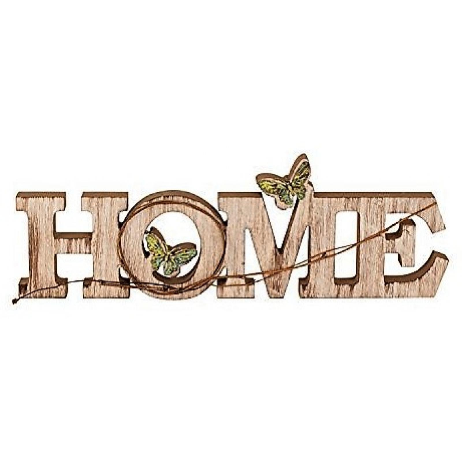 Moderner Schriftzug HOME 45x15cm Holz Schmetterlinge Buchstaben Deko Aufsteller