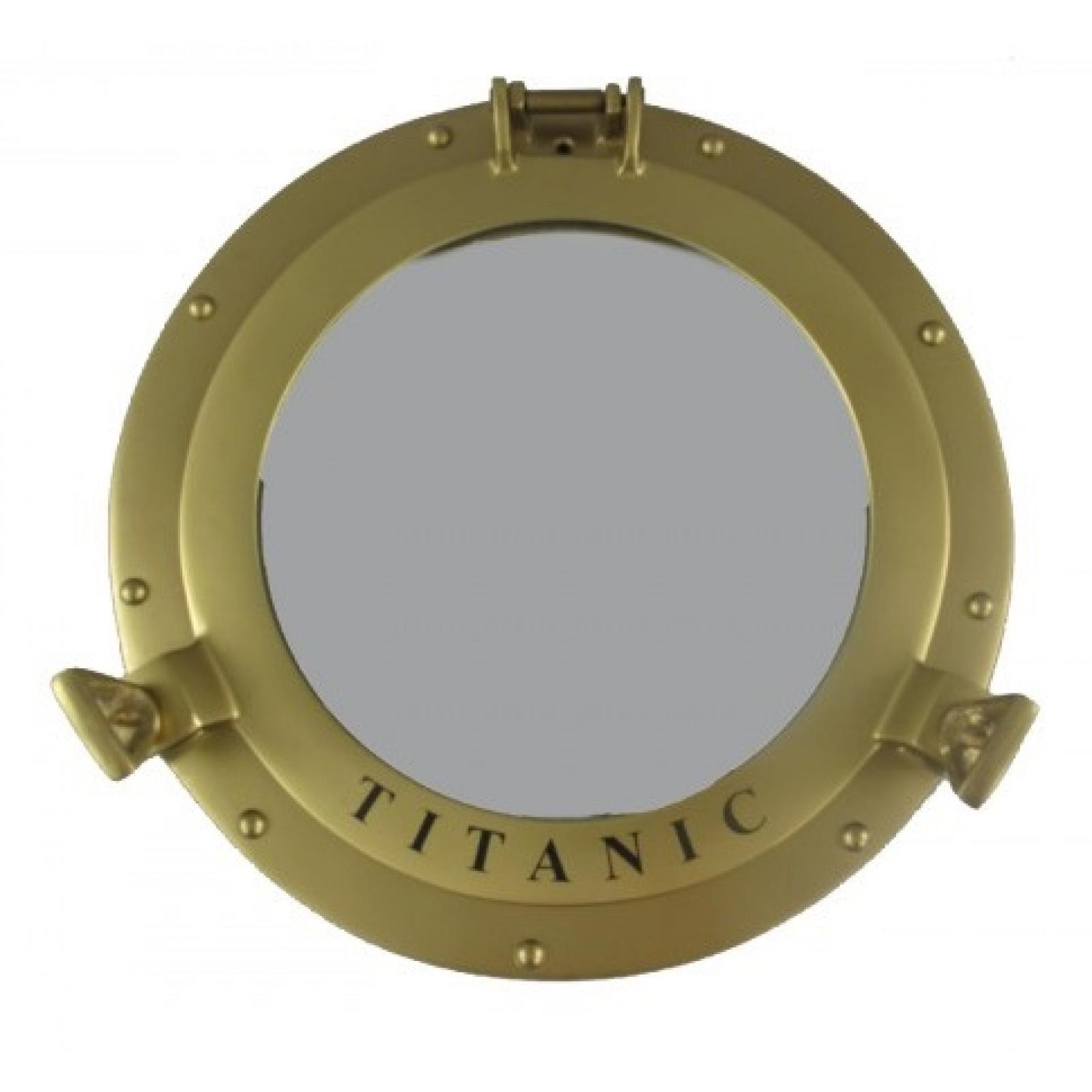 hublot titanic salle de bain mur miroir maritime aluminium 29cm or bateau d co ebay. Black Bedroom Furniture Sets. Home Design Ideas