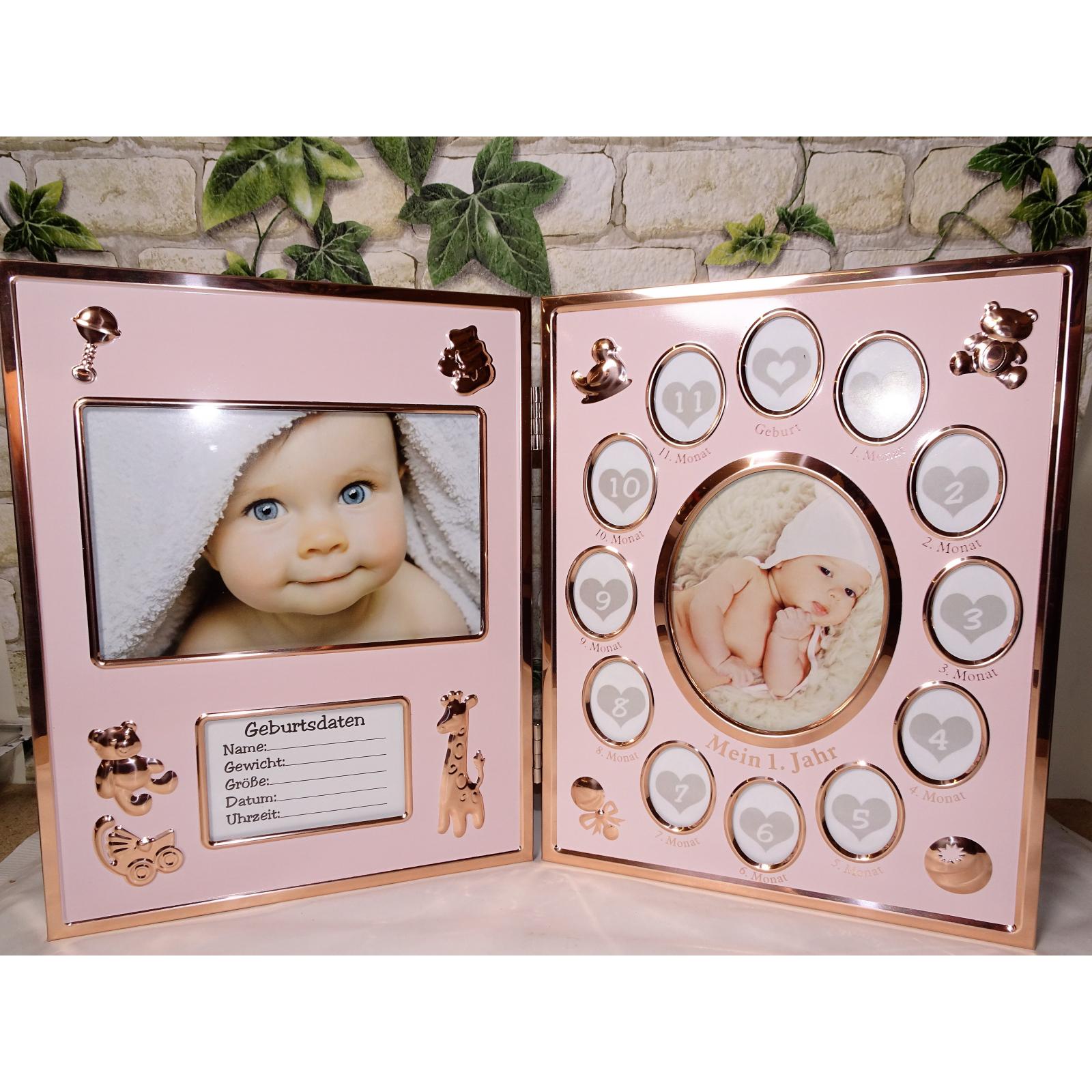 Baby Bilderrahmen Mein erstes Jahr pink goldfarben klappbar Klapp Foto-Rahmen