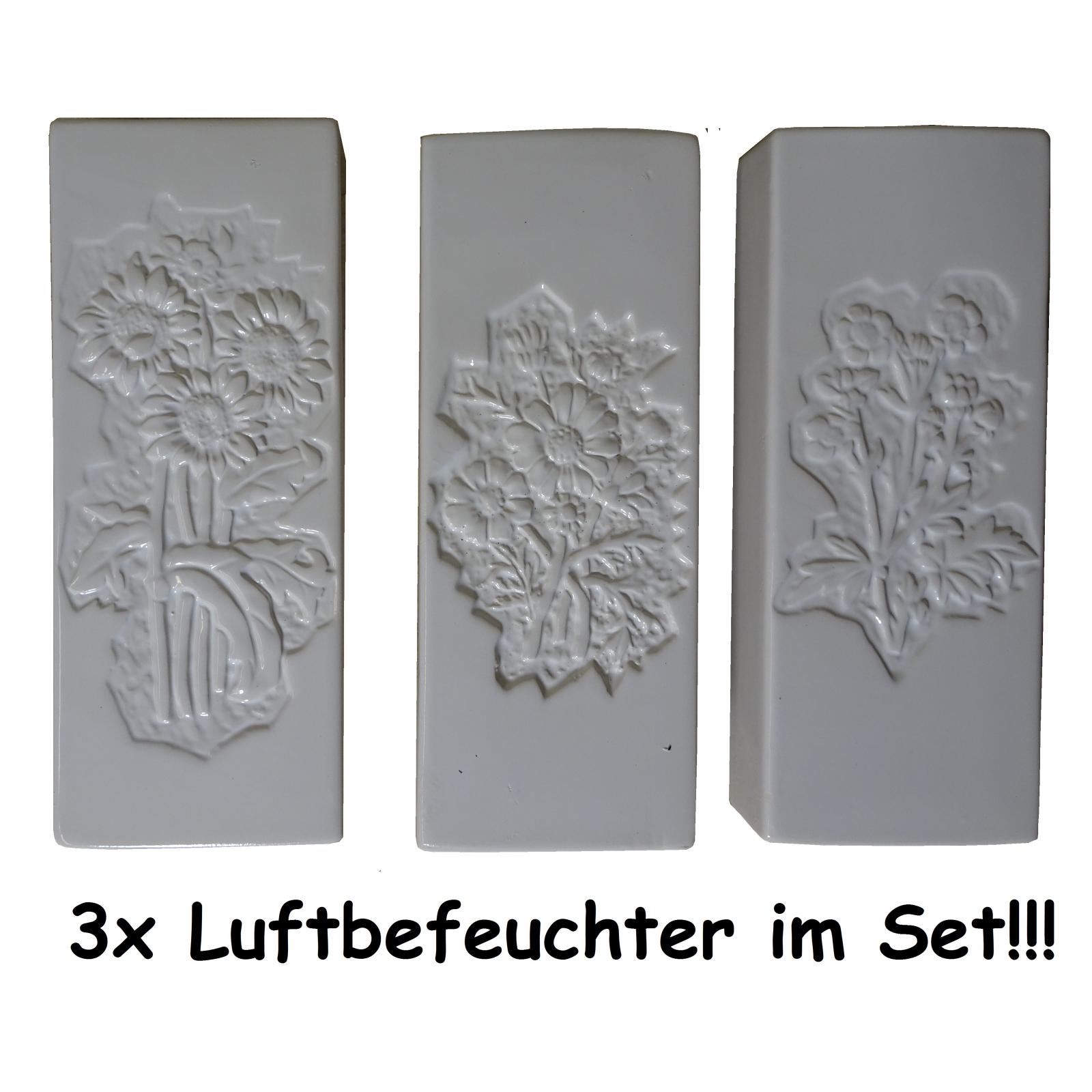 3 wei/ße Keramik Wasser Verdunster Luftbefeuchter f/ür Heizung//Flachheizk/örper mit Blumenmotiv Motiv je nach Verf/ügbarkeit