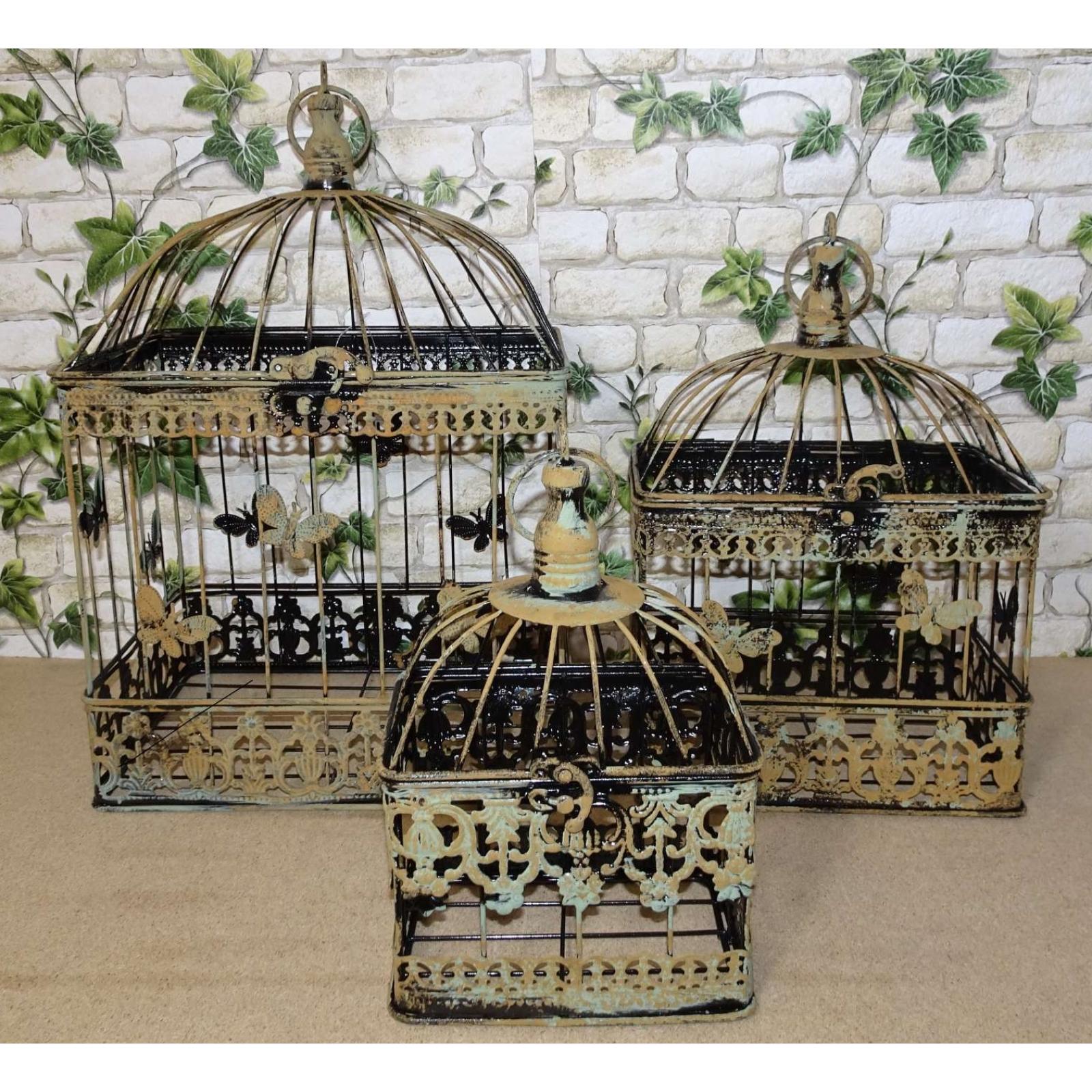 3er Set Bird Cage Antique Green Brown Iron Plants Flowers Decor
