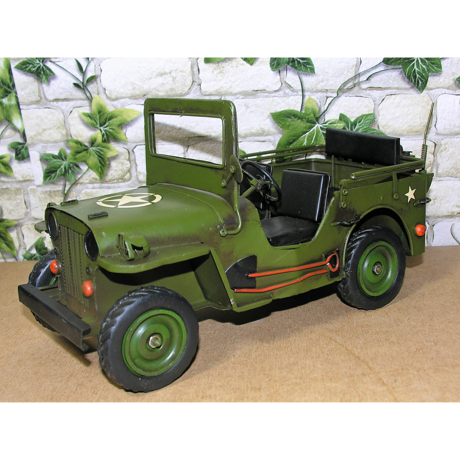 blechauto milit r jeep 30cm fahrzeug us retro antik stil modell auto oldtimer ebay. Black Bedroom Furniture Sets. Home Design Ideas